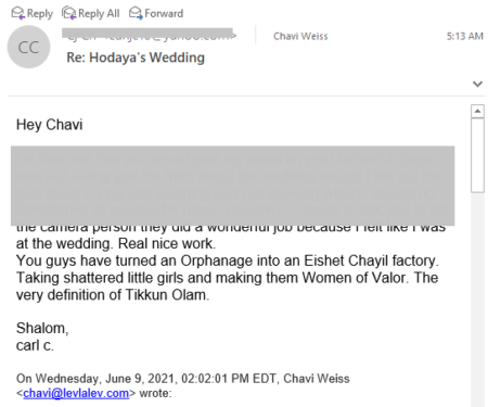 Email from donor to Israel Charity Girls Orphanage Lev LaLev